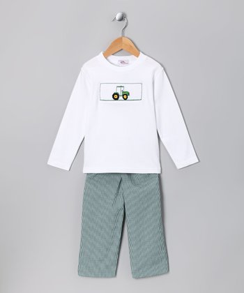 White Tractor Tee & Green Pants - Boys