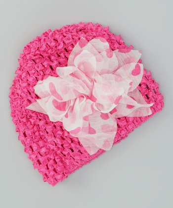 Fuchsia Heartspree Crocheted Beanie