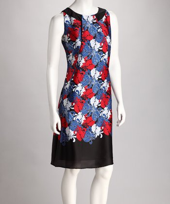 Blue & Red Floral Sleeveless Dress