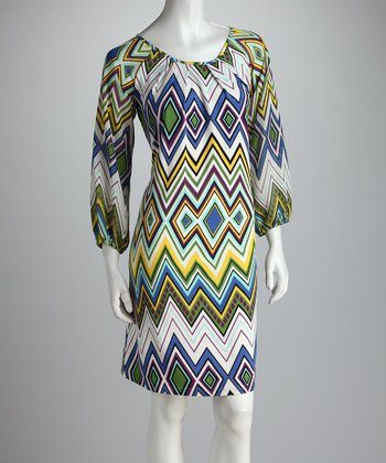 Green & Blue Zigzag Dress