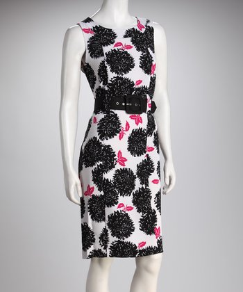 Black & White Daisy Belted Sleeveless Dress