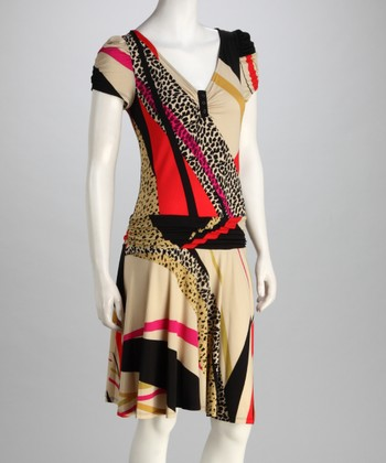 Beige & Red Abstract Drop-Waist Dress - Women