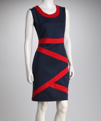 Navy & Red Crisscross Color Block Dress