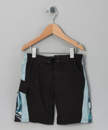Black Palm Swim Trunks - Toddler