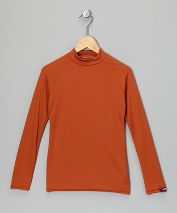 Burnt Orange Microtech Long-Sleeve Top - Boys