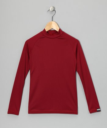 Cardinal Red Microtech Long-Sleeve Top - Boys