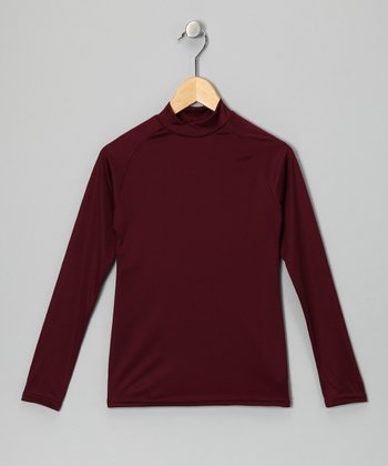 Maroon Microtech Long-Sleeve Top - Boys