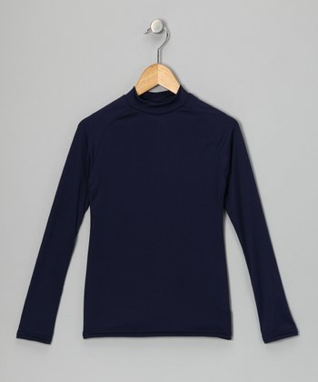 Navy Blue Microtech Long-Sleeve Top - Boys