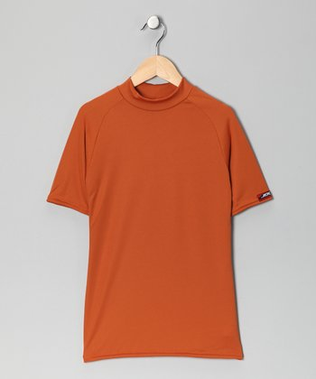 Burnt Orange Microtech Form-Fit Short-Sleeve Top - Boys
