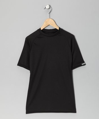 Black Microtech Form-Fit Short-Sleeve Top - Boys
