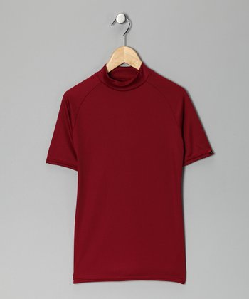 Cardinal Red Microtech Form-Fit Short-Sleeve Top - Boys