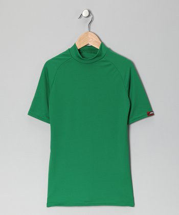 Kelly Green Microtech Form-Fit Short-Sleeve Top - Boys