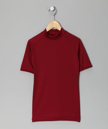 Maroon Microtech Form-Fit Short-Sleeve Top - Boys