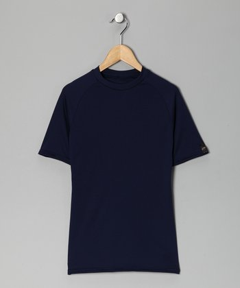 Navy Blue Microtech Form-Fit Short-Sleeve Top - Boys