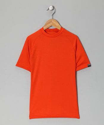 Orange Microtech Form-Fit Short-Sleeve Top - Boys