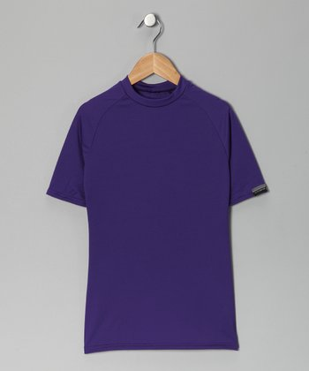 Purple Microtech Form-Fit Short-Sleeve Top - Boys