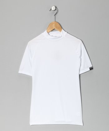 White Microtech Form-Fit Short-Sleeve Top - Boys