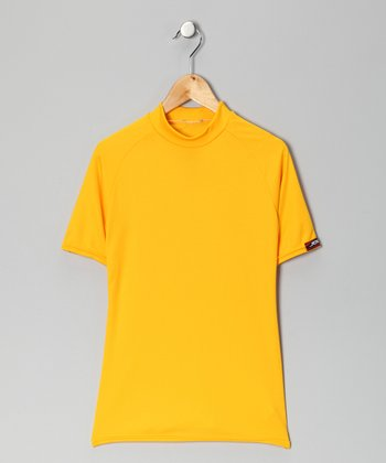 Yellow Gold Microtech Form-Fit Short-Sleeve Top - Boys
