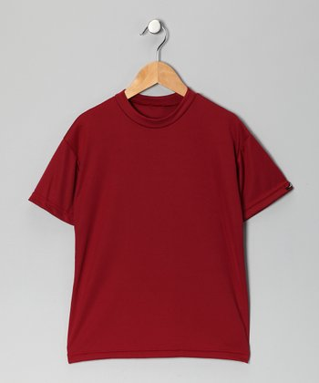 Cardinal Red Microtech Loose Short-Sleeve Top - Boys