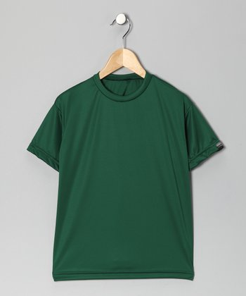 Forest Green Microtech Loose Short-Sleeve Top - Boys