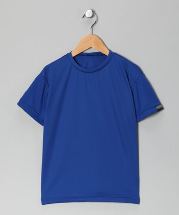 Royal Blue Microtech Loose Short-Sleeve Top - Boys