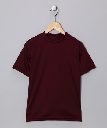 Maroon Microtech Loose Short-Sleeve Top - Boys