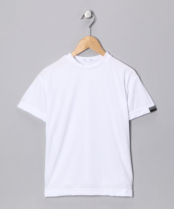 White Microtech Loose Short-Sleeve Top - Boys