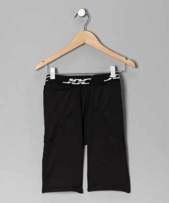 Black Pocket Football Girdle Shorts - Boys