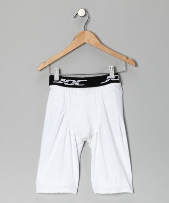 White Pocket Football Girdle Shorts - Boys