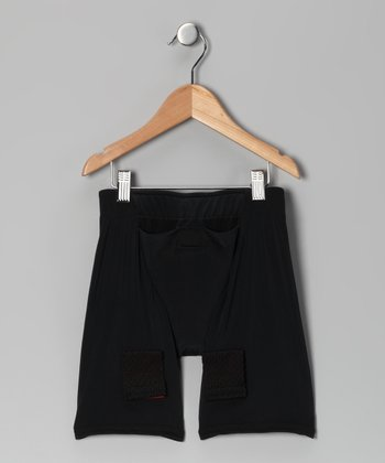 Black Loose Hockey Joc Shorts - Boys