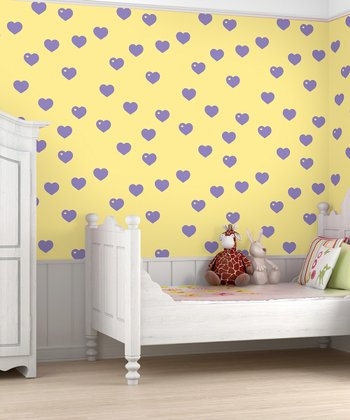 WallCandy Arts Lavender & Butter Hearts Wallpaper - Set of Two