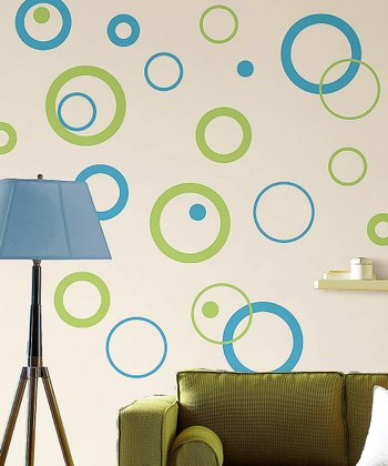 Aqua & Lime Circle Wall Decal Set