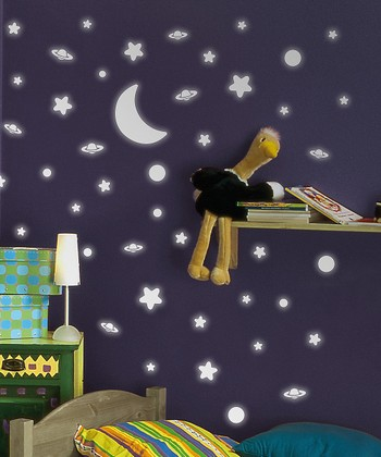 Glow-in-the-Dark Moon & Star Wall Decal Set