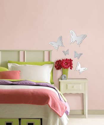 Silver Butterflies Wall Decal Set