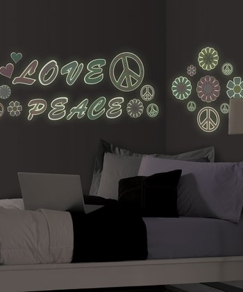 Glow-in-the-Dark Love & Peace Wall Decal Set