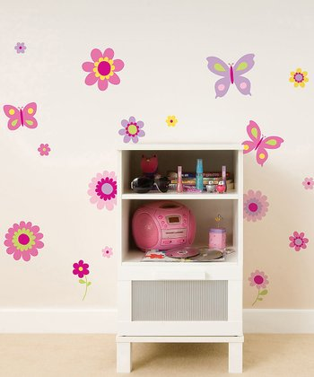 Flower & Butterfly Wall Decal Set