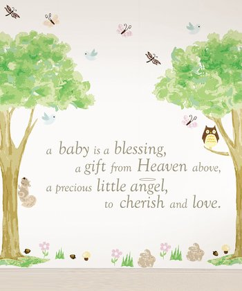 'A Baby is a Blessing' & Tree House Wall Decals Set