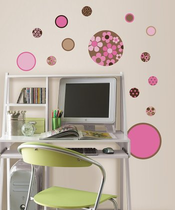 Brown & Pink Gone Dotty Mini Pop Wall Decal Set