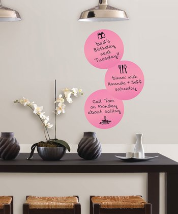 Pink Circle Dry-Erase Wall Decal - Set of Three