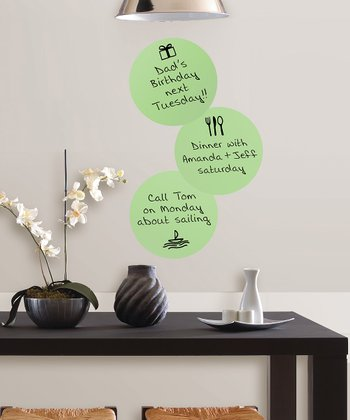 Green Circle Dry-Erase Wall Decal - Set of Three
