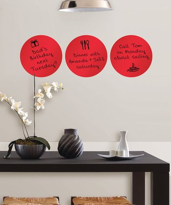 Red Hot Circle Dry-Erase Wall Decal - Set of Three