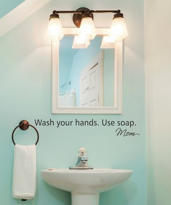 Black 'Wash Your Hands' Wall Quote