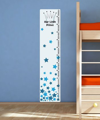 White & Blue Star Textstyles Growth Chart Decal