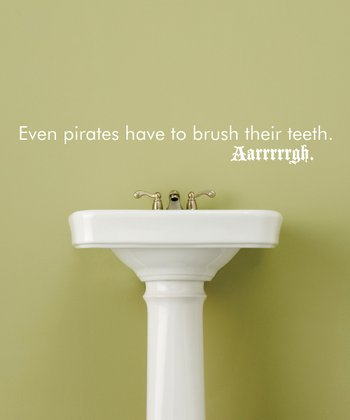 White 'Brush Their Teeth' Wall Quote