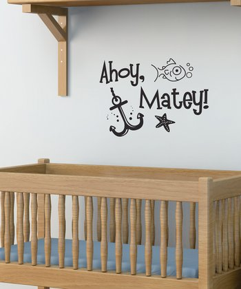 Black 'Ahoy, Matey' Wall Quote