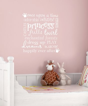 White 'Princess' Subway Wall Quote