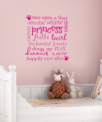 Pink 'Princess' Subway Wall Quote