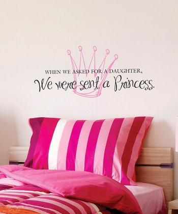 Black & Soft Pink 'We Were Sent A Princess' Wall Quote