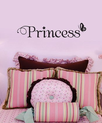 Black Butterfly 'Princess' Wall Quote