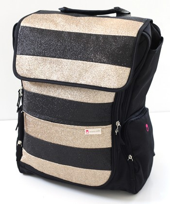 Black Stripe Diaper Backpack & Pillow